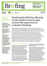 Realising the SDGs by reflecting on the way(s) we reason, plan and act: the importance of evaluative thinking