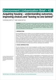 """Acquiring housing – understanding outcomes, improving choices and """"leaving no one behind"""""""