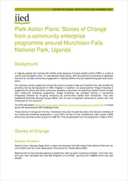 Park Action Plans: Stories of Change from a community enterprise programme around Murchison Falls National Park, Uganda