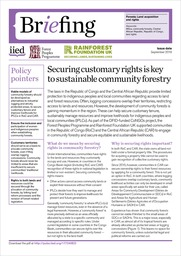 Securing customary rights is key to sustainable community forestry