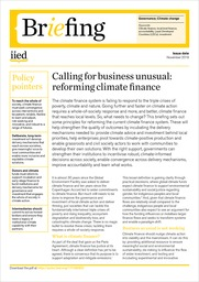 Calling for business unusual: reforming climate finance