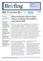 More inclusive cities in East Africa: working with politics and informality