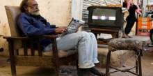 A 'living room on the street' in Paposh Nagar, Karachi (Photo: Fareena Chanda)