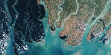 The Sundarbans mangrove forest (dark green on the image) is a fragile ecosystem threatened by rising levels of salinity (Photo: European Space Agency)