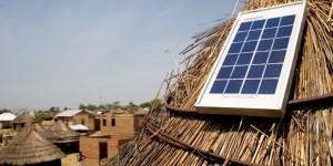 Solar energy panel on a hut.