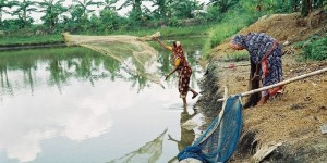 Two women throwing fishing nets at a lake