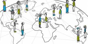 Illustration of people standing on a globe