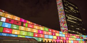 September 2015: on the eve of the United Nations summit to agree the 2030 Agenda, a film introducing the 17 Sustainable Development Goals is projected onto the UN headquarters building (Photo: UN Photo/Cia Pak)