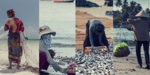 Four images of people from IIED's 2021 'super year' video, including a fisher hauling nets