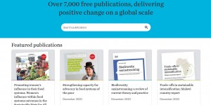 Screengrab of the Publications Library homepage, showing publication covers listed in a grid format