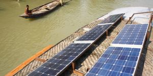 Solar panels on a floating school, Bangladesh