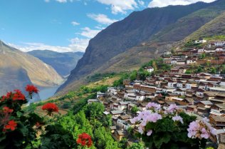 A view of a mountain village