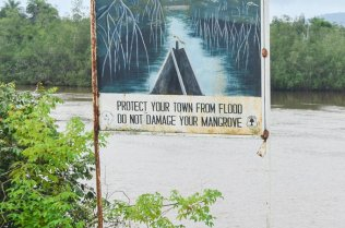 Sign by river reads: protect your town from flood, do not damage your mangrove