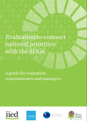 Cover of publication titled 'Evaluation to connect national priorities with the SDGs'