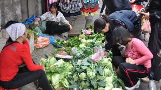 a vegetable seller and customers