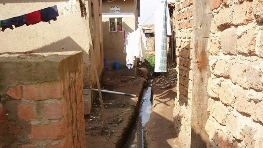 Informal housing with open sewer