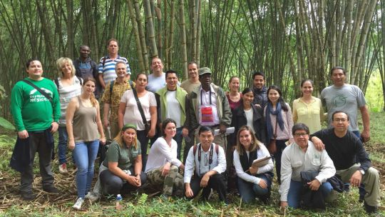 International Forest Connect workshop participants in November 2016, visiting the Allpabambú plantation in the Ecuadorian Chocó, which produces bamboo for the local and international markets in cooperation with other producer associations. (Photo: Duncan Macqueen/IIED)