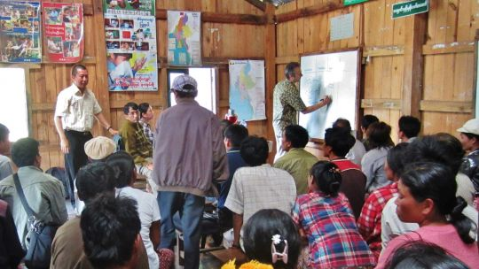 An association of farmers in northeast Myanmar carries out value chain analysis of elephant foot yam (Photo: Duncan Macqueen/IIED)