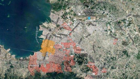 A map showing the neighbourhoods around Port-au-Prince, Haiti
