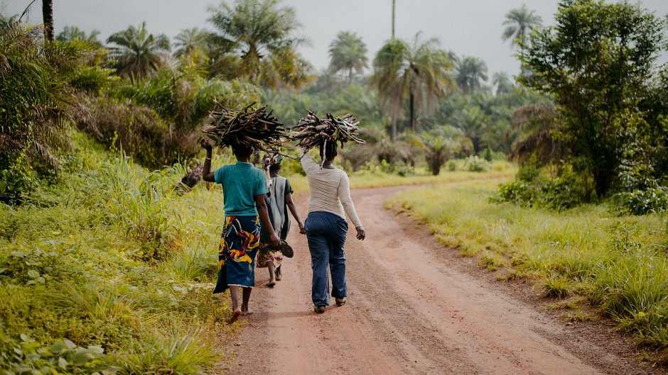 Three women walk down the side of a road carrying branches on their heads